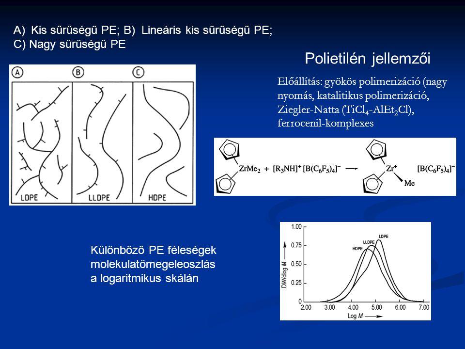 Polietilén jellemzői Kis sűrűségű PE; B) Lineáris kis sűrűségű PE;