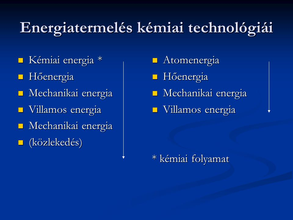 Energiatermelés kémiai technológiái