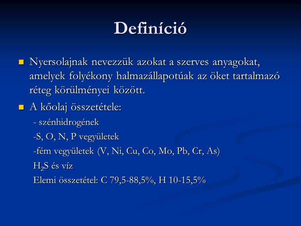 Definíció Nyersolajnak nevezzük azokat a szerves anyagokat, amelyek folyékony halmazállapotúak az öket tartalmazó réteg körülményei között.