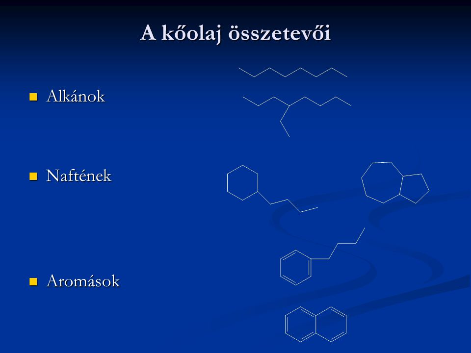 A kőolaj összetevői Alkánok Naftének Aromások