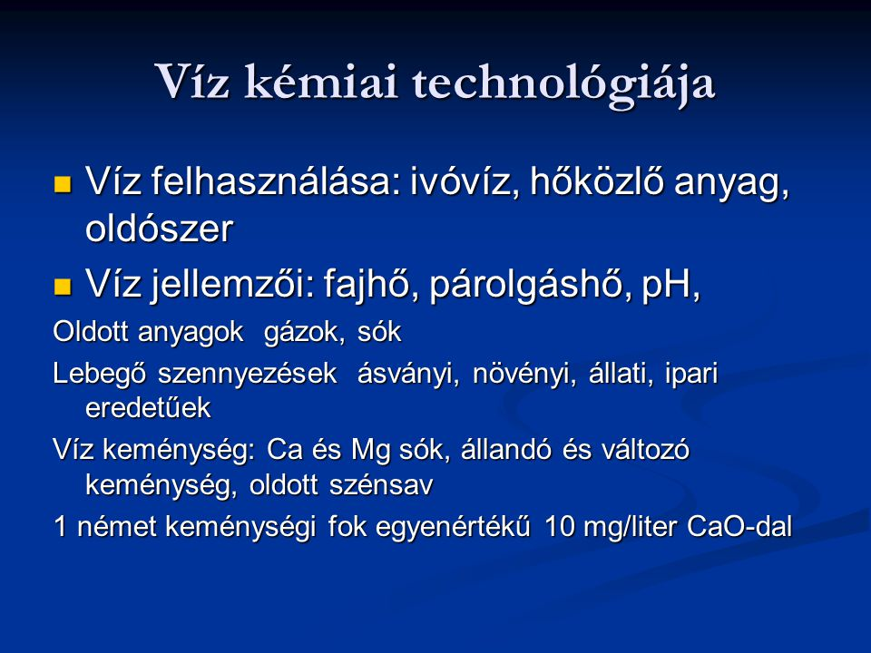 Víz kémiai technológiája