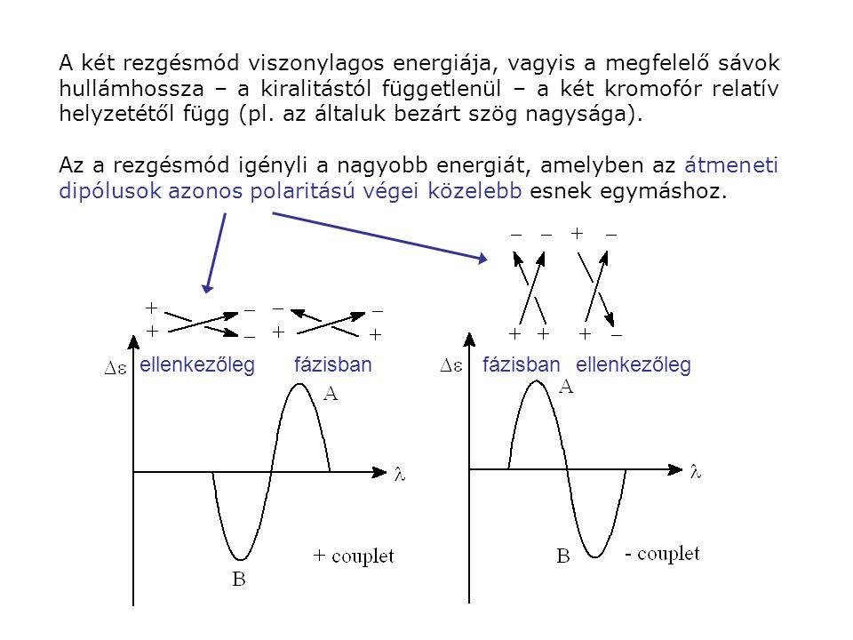 A két rezgésmód viszonylagos energiája, vagyis a megfelelő sávok hullámhossza – a kiralitástól függetlenül – a két kromofór relatív helyzetétől függ (pl. az általuk bezárt szög nagysága).