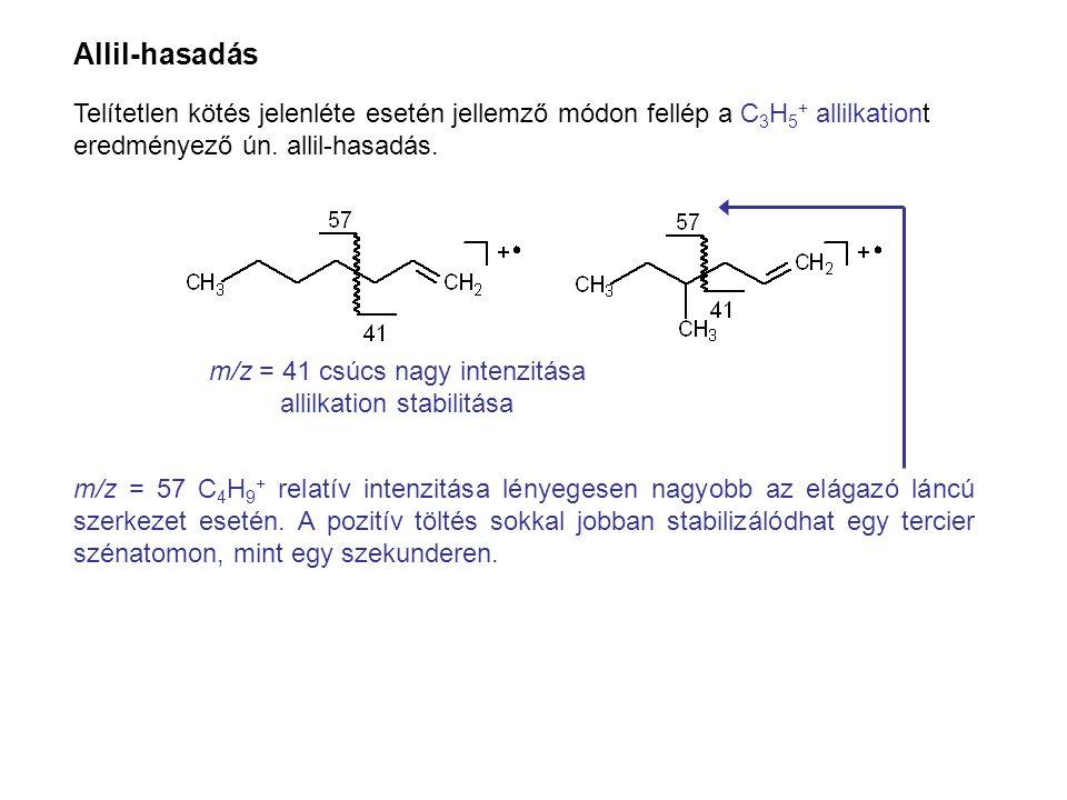 Allil-hasadás Telítetlen kötés jelenléte esetén jellemző módon fellép a C3H5+ allilkationt eredményező ún. allil-hasadás.