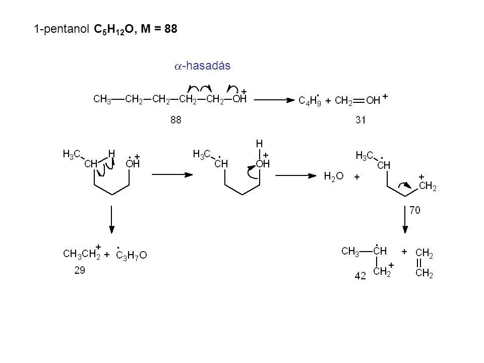 1-pentanol C5H12O, M = 88 a-hasadás