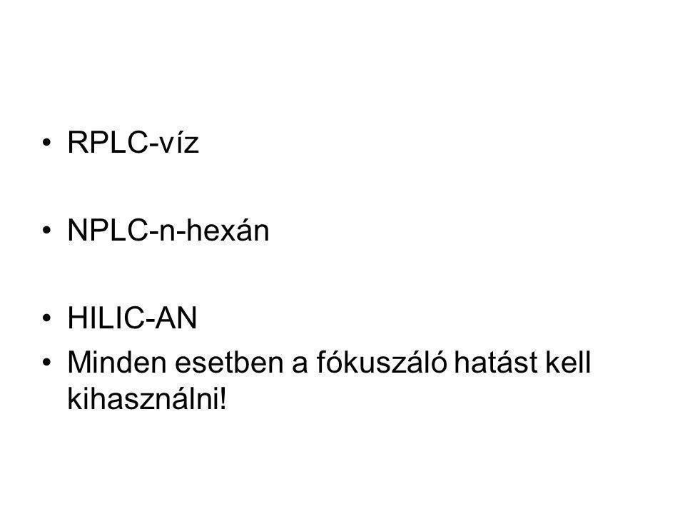 RPLC-víz NPLC-n-hexán HILIC-AN Minden esetben a fókuszáló hatást kell kihasználni!