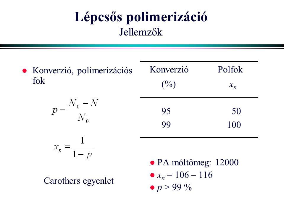 Lépcsős polimerizáció Jellemzők