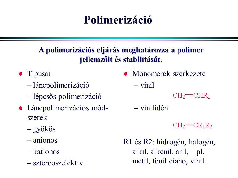 Polimerizáció A polimerizációs eljárás meghatározza a polimer jellemzőit és stabilitását. Típusai.