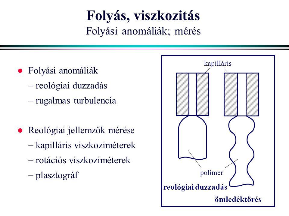 Folyás, viszkozitás Folyási anomáliák; mérés