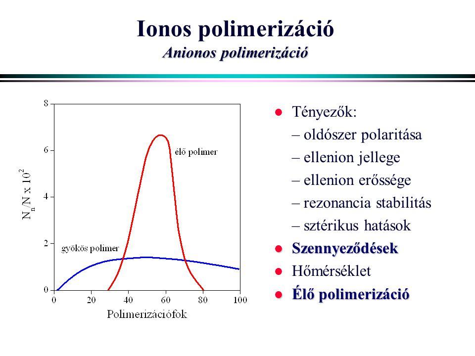 Ionos polimerizáció Anionos polimerizáció