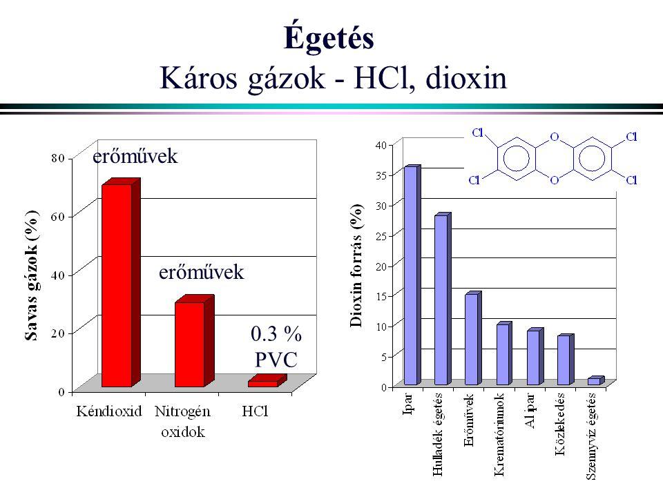 Égetés Káros gázok - HCl, dioxin