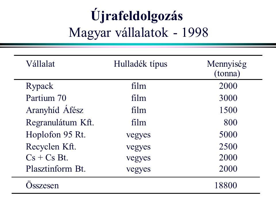 Újrafeldolgozás Magyar vállalatok - 1998