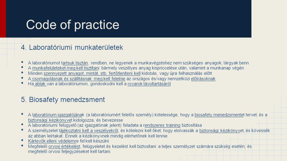 Code of practice 4. Laboratóriumi munkaterületek
