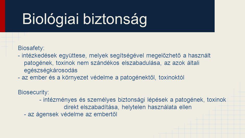 Biológiai biztonság Biosafety: