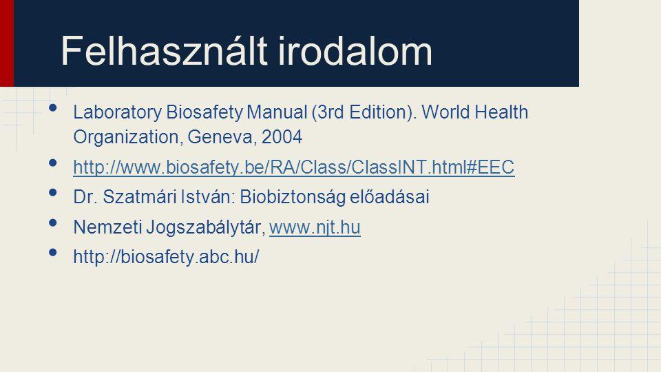 Felhasznált irodalom Laboratory Biosafety Manual (3rd Edition). World Health Organization, Geneva, 2004.