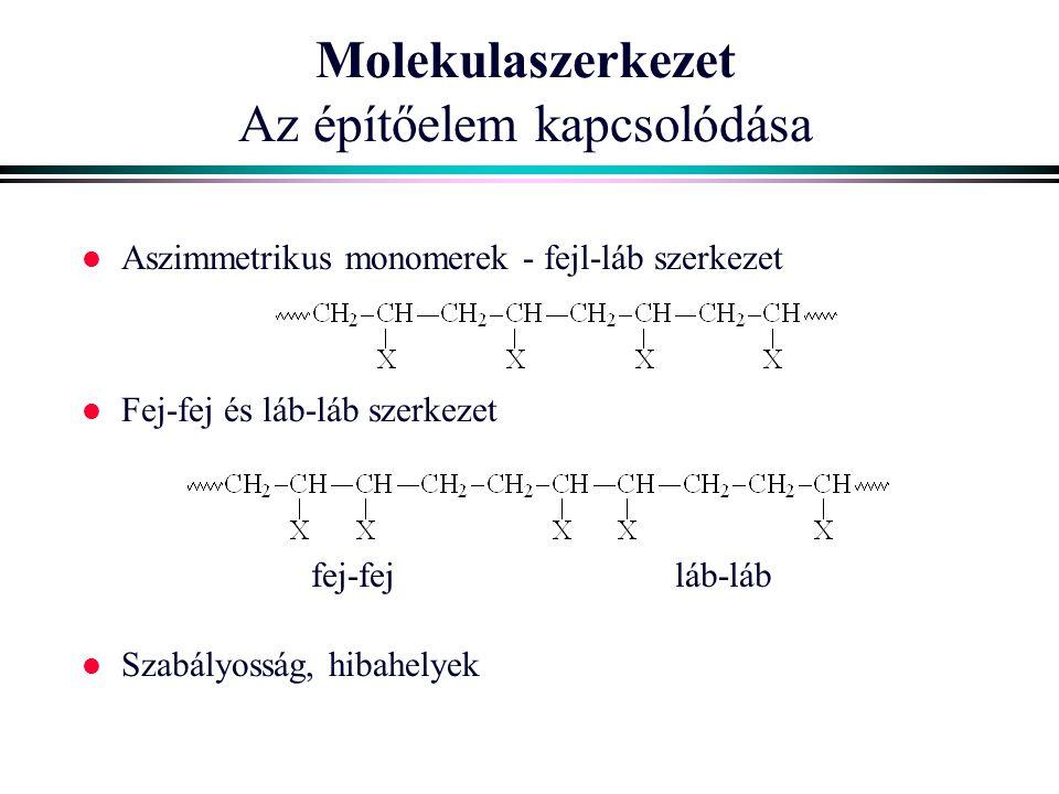 Molekulaszerkezet Az építőelem kapcsolódása