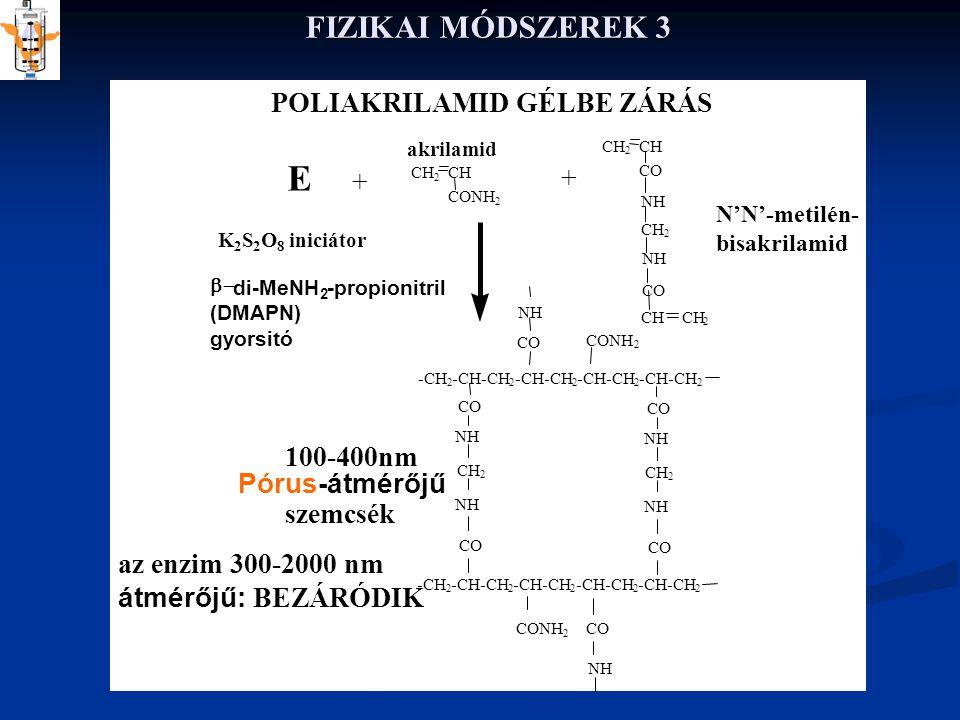 E FIZIKAI MÓDSZEREK 3 POLIAKRILAMID GÉLBE ZÁRÁS + + 100-400nm
