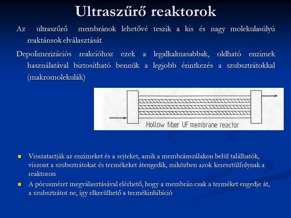Ultraszűrő reaktorok Az ultraszűrő membránok lehetővé teszik a kis és nagy molekulasúlyú reaktánsok elválasztását.