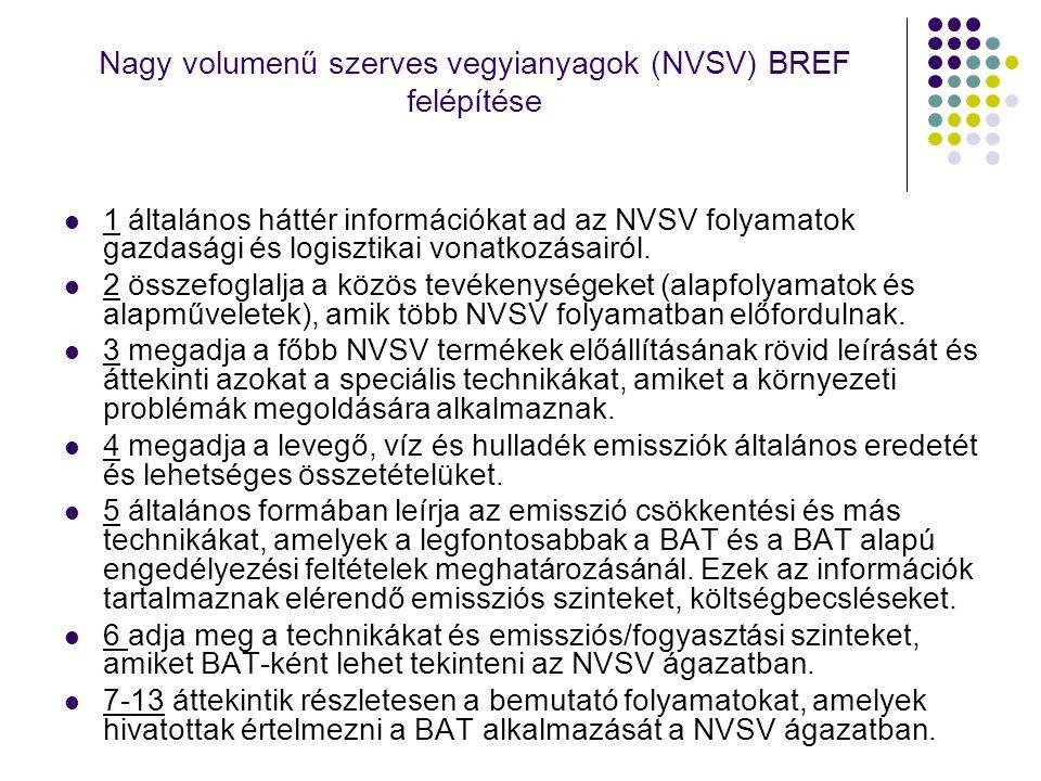 Nagy volumenű szerves vegyianyagok (NVSV) BREF felépítése