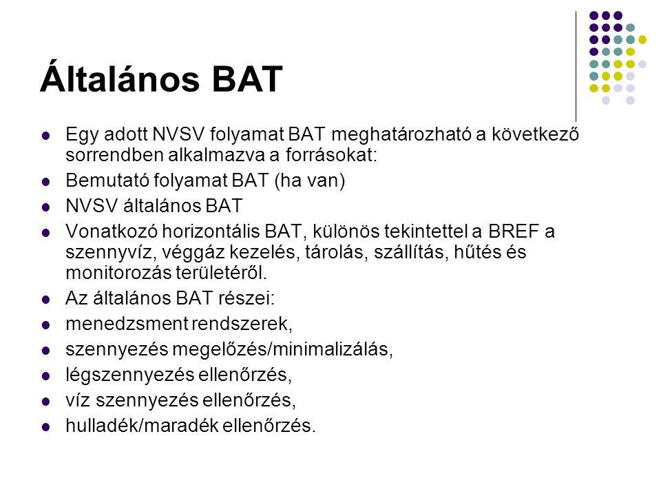Általános BAT Egy adott NVSV folyamat BAT meghatározható a következő sorrendben alkalmazva a forrásokat: