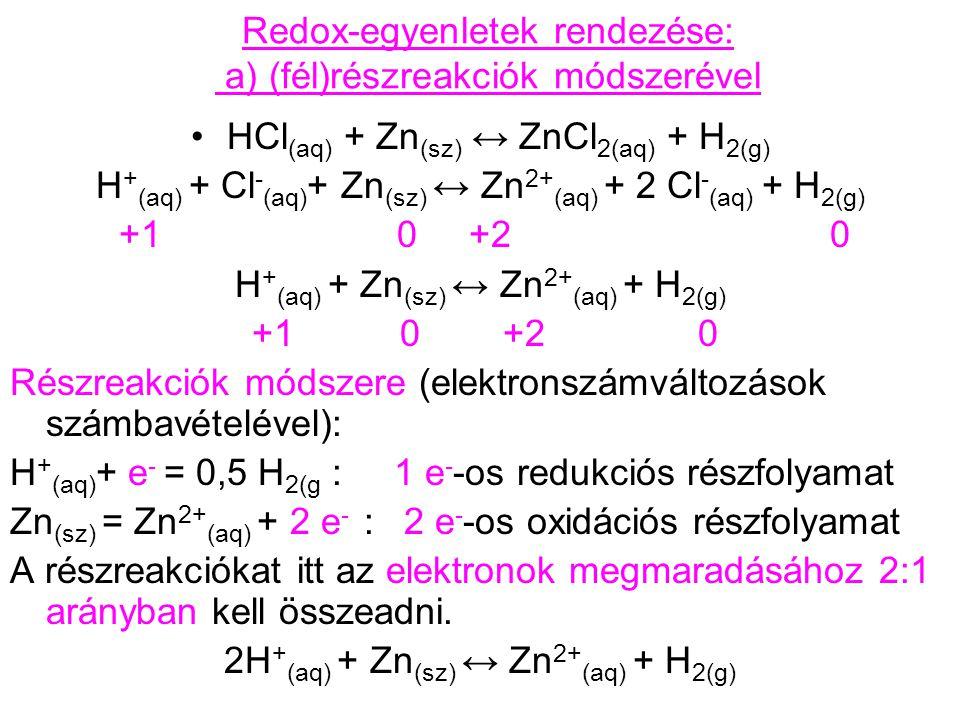 Redox-egyenletek rendezése: a) (fél)részreakciók módszerével