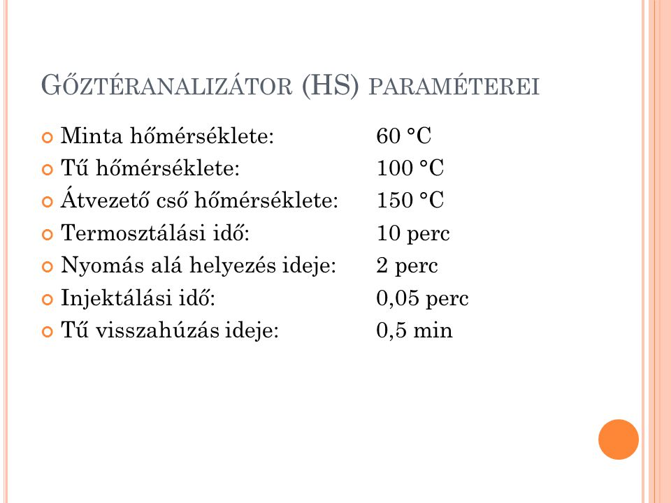 Gőztéranalizátor (HS) paraméterei
