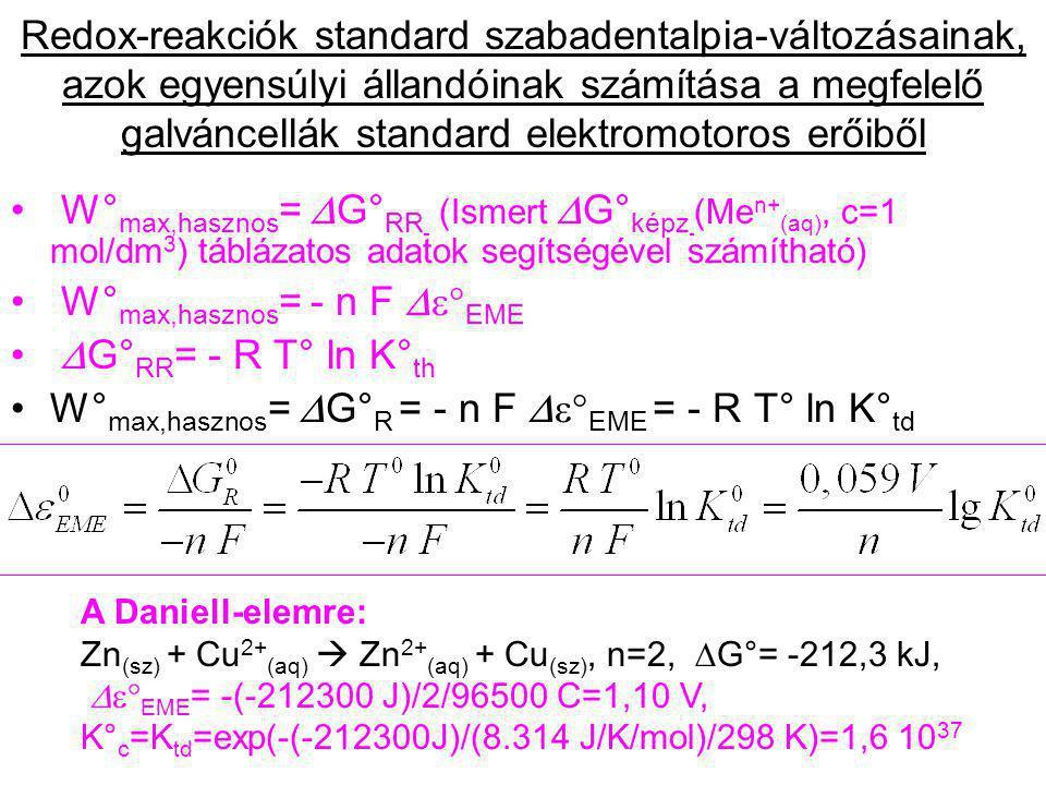 W°max,hasznos= - n F De°EME DG°RR= - R T° ln K°th