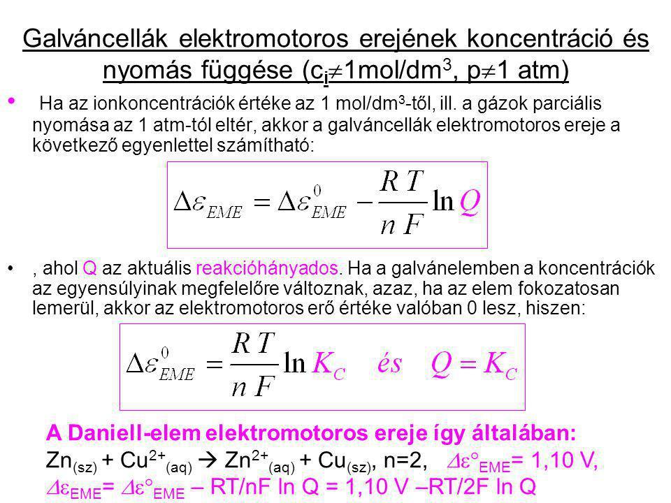 Galváncellák elektromotoros erejének koncentráció és nyomás függése (ci1mol/dm3, p1 atm)