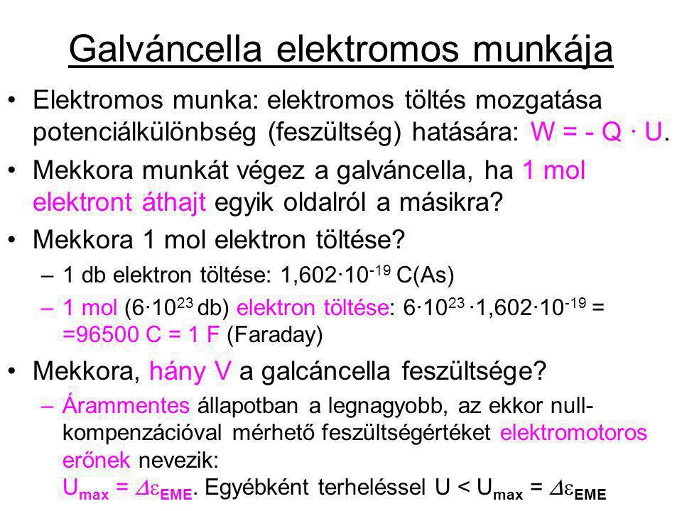 Galváncella elektromos munkája