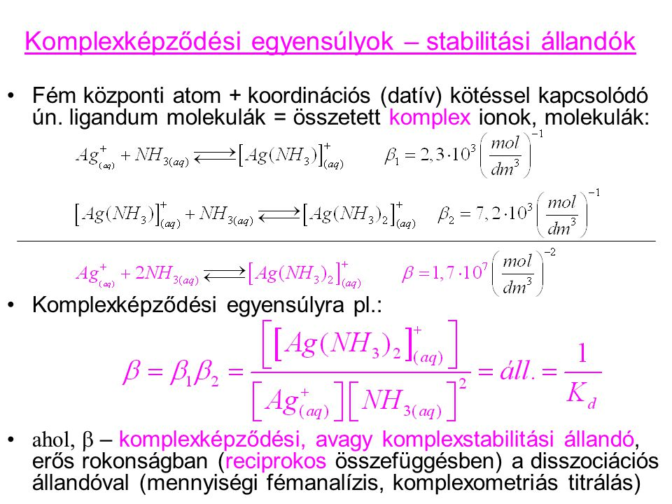Komplexképződési egyensúlyok – stabilitási állandók