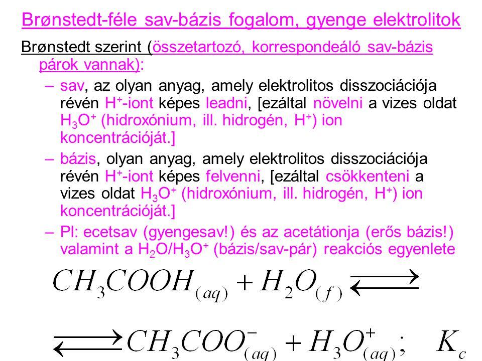 Brønstedt-féle sav-bázis fogalom, gyenge elektrolitok