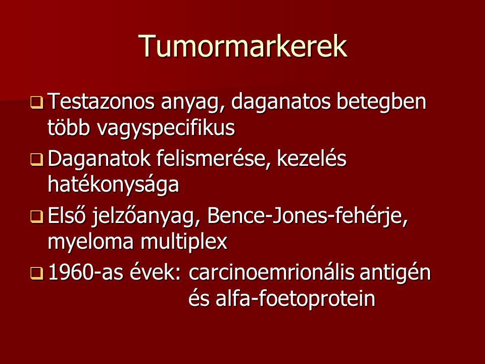 Tumormarkerek Testazonos anyag, daganatos betegben több vagyspecifikus