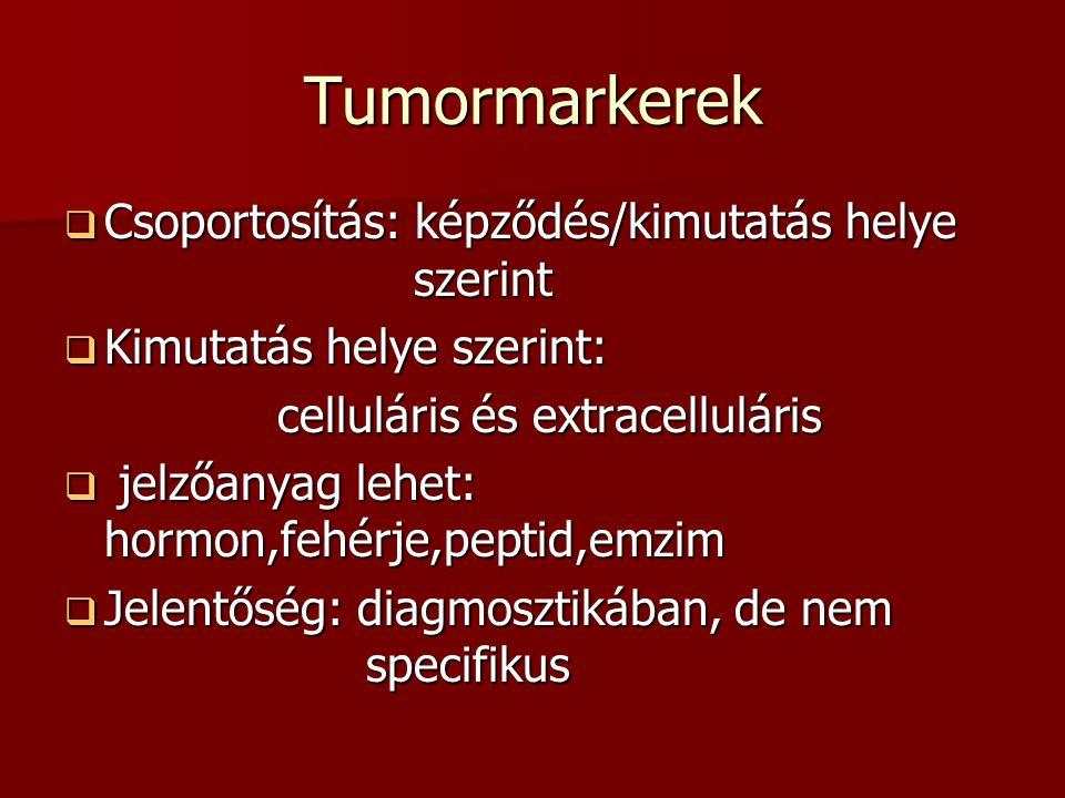 Tumormarkerek Csoportosítás: képződés/kimutatás helye szerint