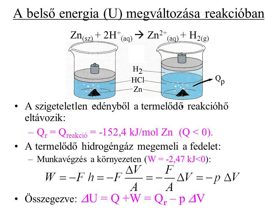 A belső energia (U) megváltozása reakcióban