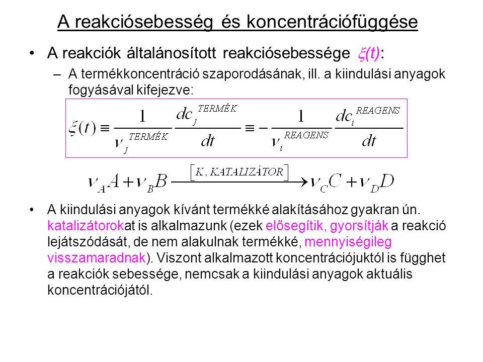 A reakciósebesség és koncentrációfüggése