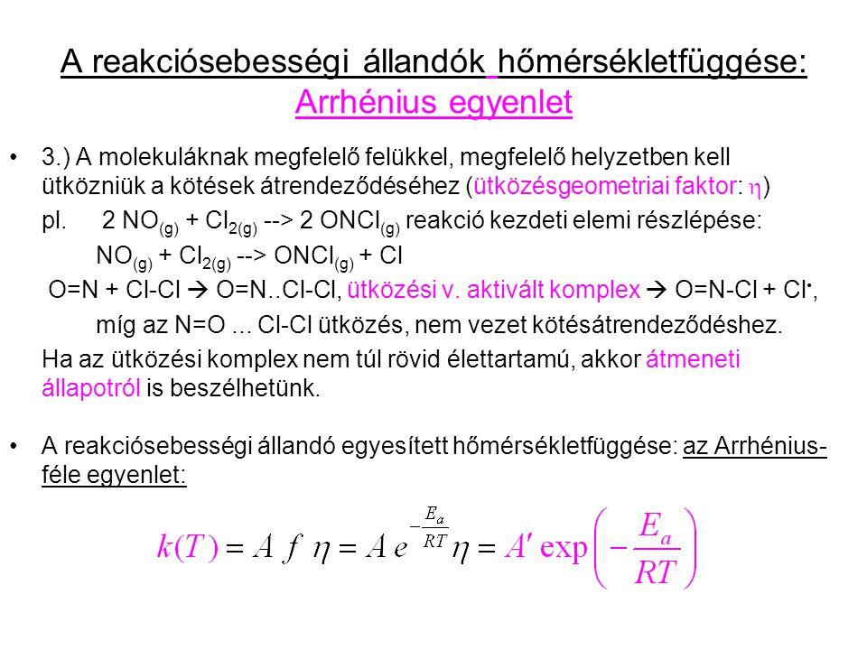 A reakciósebességi állandók hőmérsékletfüggése: Arrhénius egyenlet