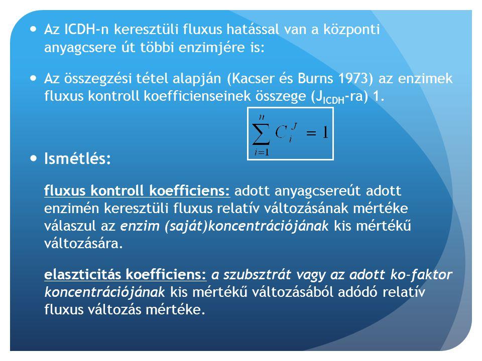 Az ICDH-n keresztüli fluxus hatással van a központi anyagcsere út többi enzimjére is: