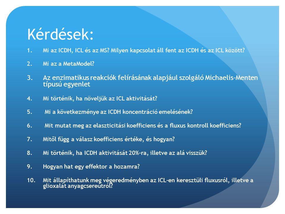 Kérdések: Mi az ICDH, ICL és az MS Milyen kapcsolat áll fent az ICDH és az ICL között Mi az a MetaModel