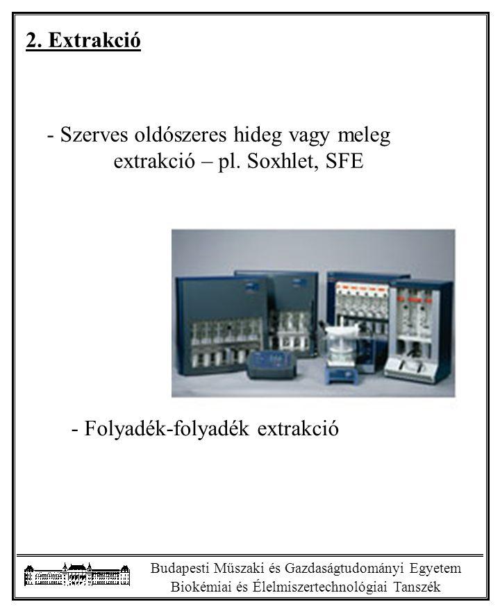 Szerves oldószeres hideg vagy meleg extrakció – pl. Soxhlet, SFE