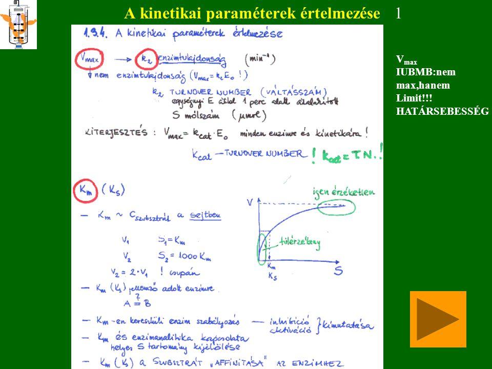 A kinetikai paraméterek értelmezése