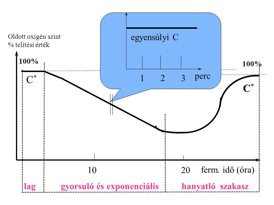 C* C* egyensúlyi C perc 1 2 3 10 20 ferm. idő (óra)