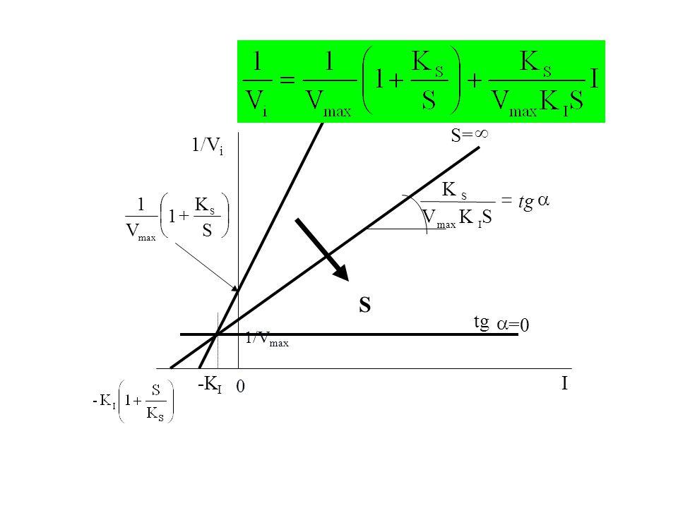 S S= ¥ 1/V a = tg S K V tg a =0 -K I ÷ ø ö ç è æ + S K 1 V 1/Vmax i I