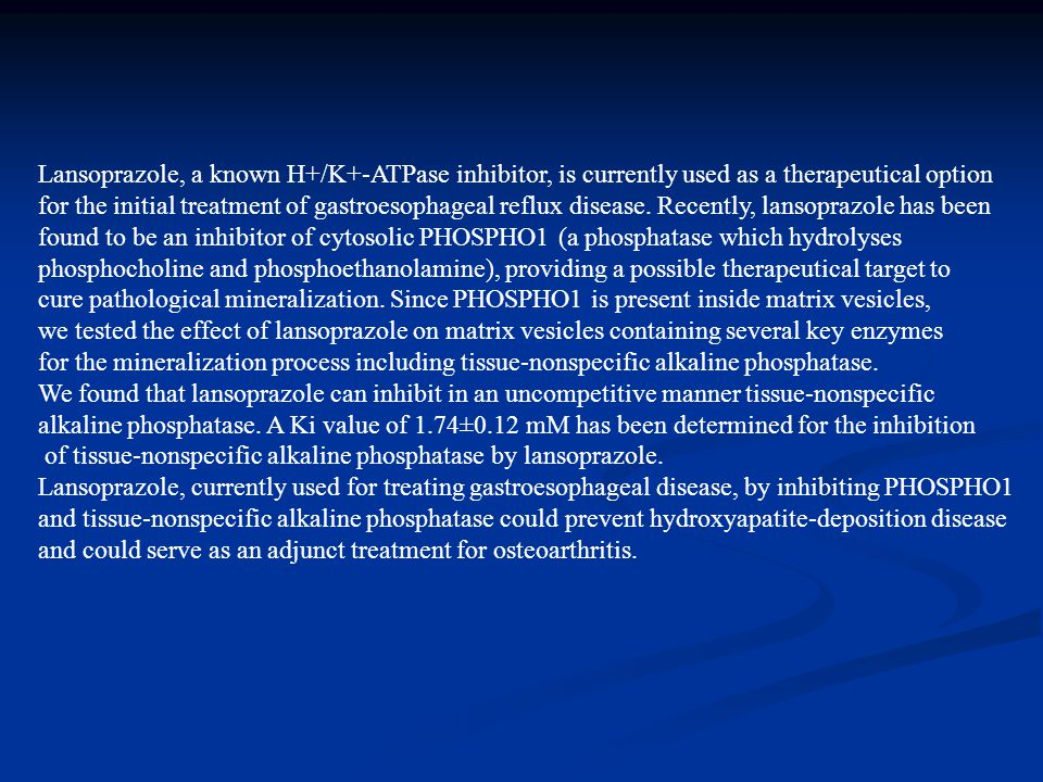 Lansoprazole, a known H+/K+-ATPase inhibitor, is currently used as a therapeutical option