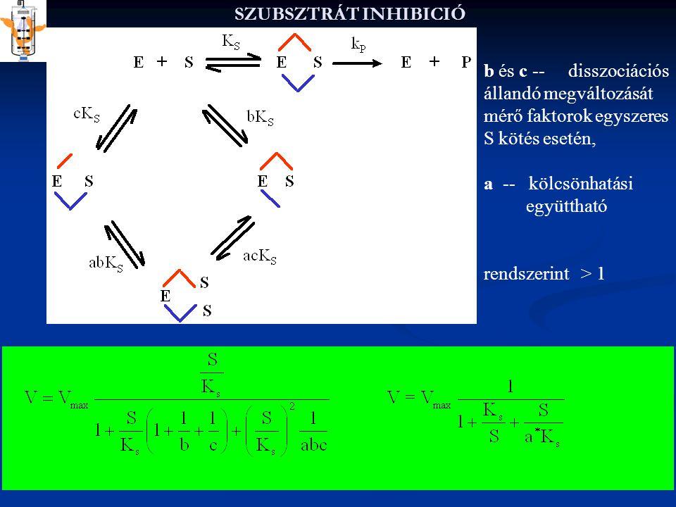 SZUBSZTRÁT INHIBICIÓ b és c -- disszociációs állandó megváltozását. mérő faktorok egyszeres S kötés esetén,