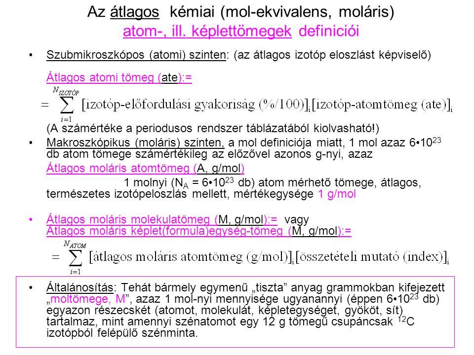 Az átlagos kémiai (mol-ekvivalens, moláris) atom-, ill
