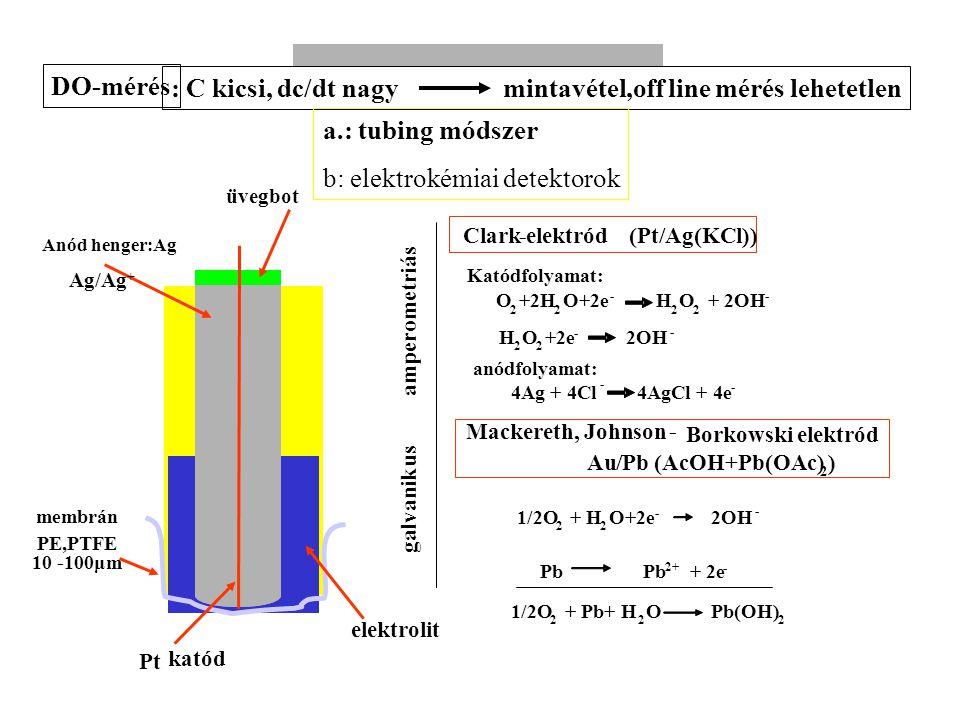 Fermentációs folyamatok nyomonkövetése: mérés, elektród (Pt/Ag(KCl))