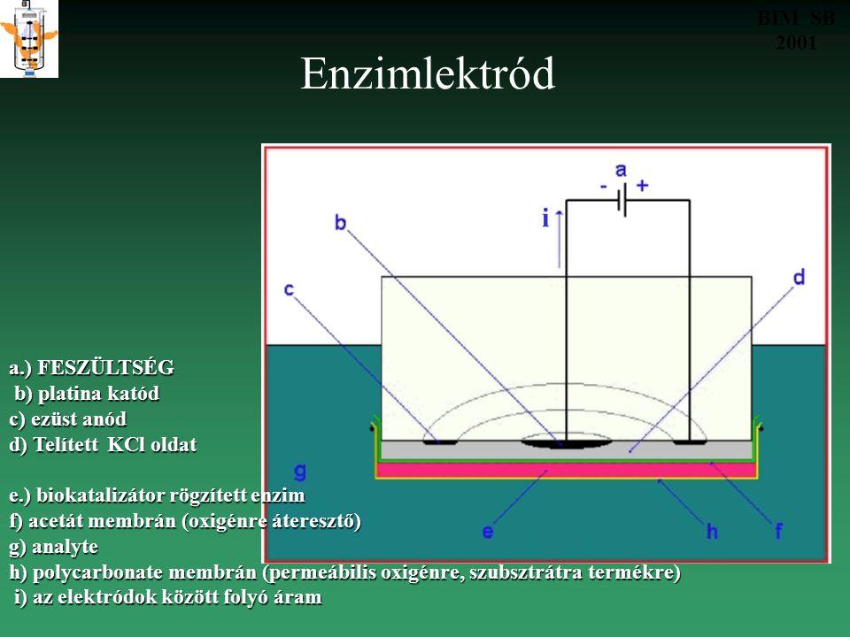 Enzimlektród i BIM SB 2001 a.) FESZÜLTSÉG b) platina katód