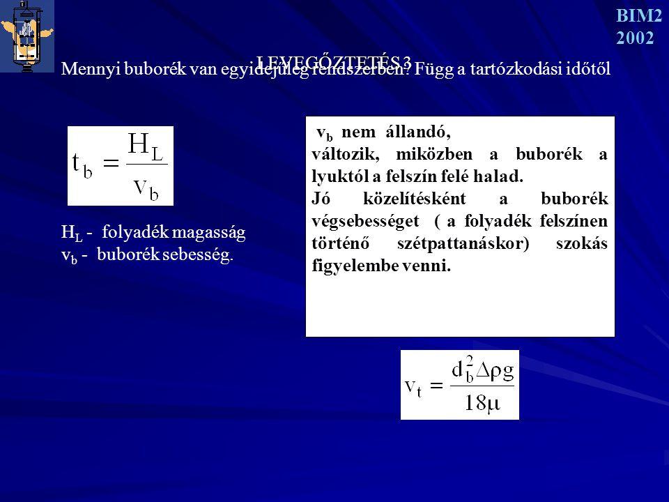 BIM2 2002. LEVEGŐZTETÉS 3. Mennyi buborék van egyidejűleg rendszerben Függ a tartózkodási időtől.