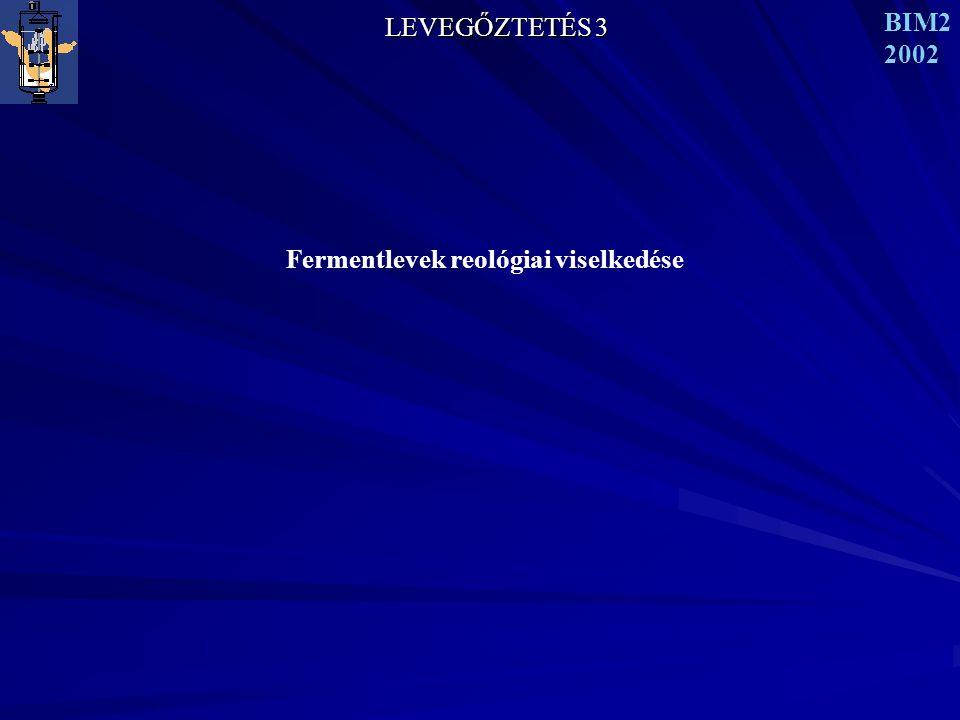 LEVEGŐZTETÉS 3 BIM2 2002 Fermentlevek reológiai viselkedése