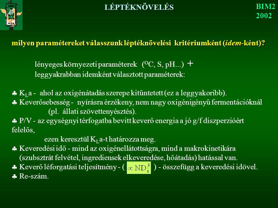 LÉPTÉKNÖVELÉS BIM2. 2002. milyen paramétereket válasszunk léptéknövelési kritériumként (idem-ként)