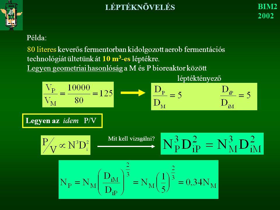 Legyen geometriai hasonlóság a M és P bioreaktor között